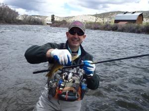 Bob Long using Tenkara to find the proper depth of feeding fish.  Fun to guide a guy using this method.